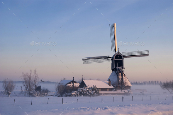 Wingerdse mill in wintermood - Stock Photo - Images