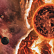 Travel Through Fire Space Nebula with Solar and Planets