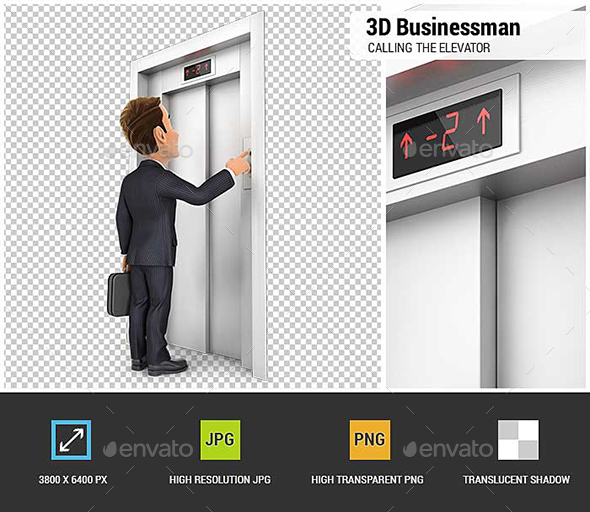 3D Businessman Calling the Elevator - Characters 3D Renders