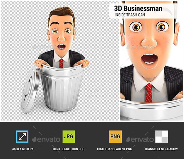 GraphicRiver 3D Businessman Inside Trash Can 20651211