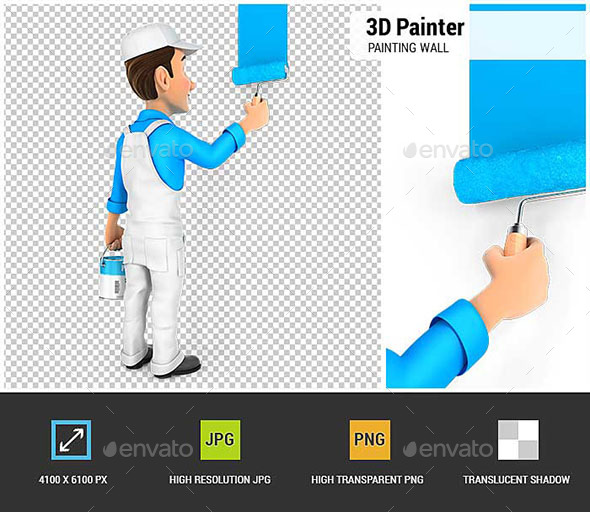 3D Painter Painting Wall - Characters 3D Renders