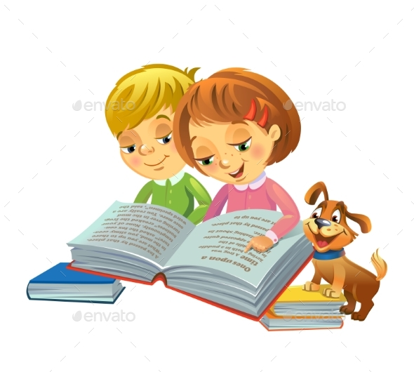Cute Girl and Boy Reading Book - People Characters