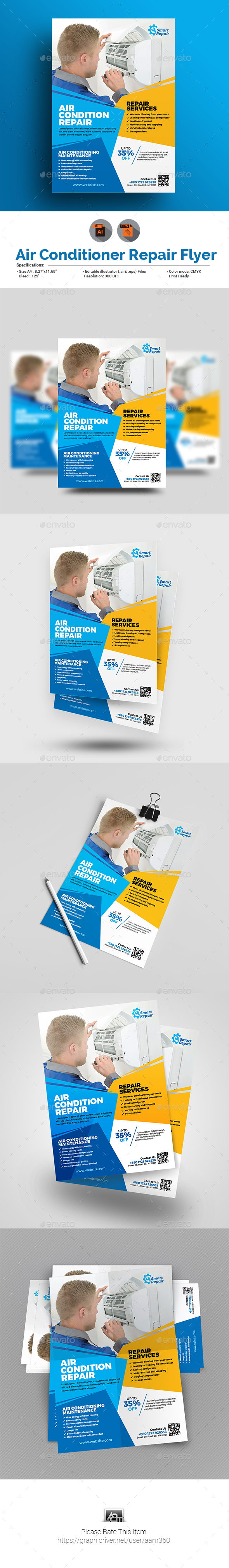 GraphicRiver Air Conditioner Repair Service Flyer 20651321
