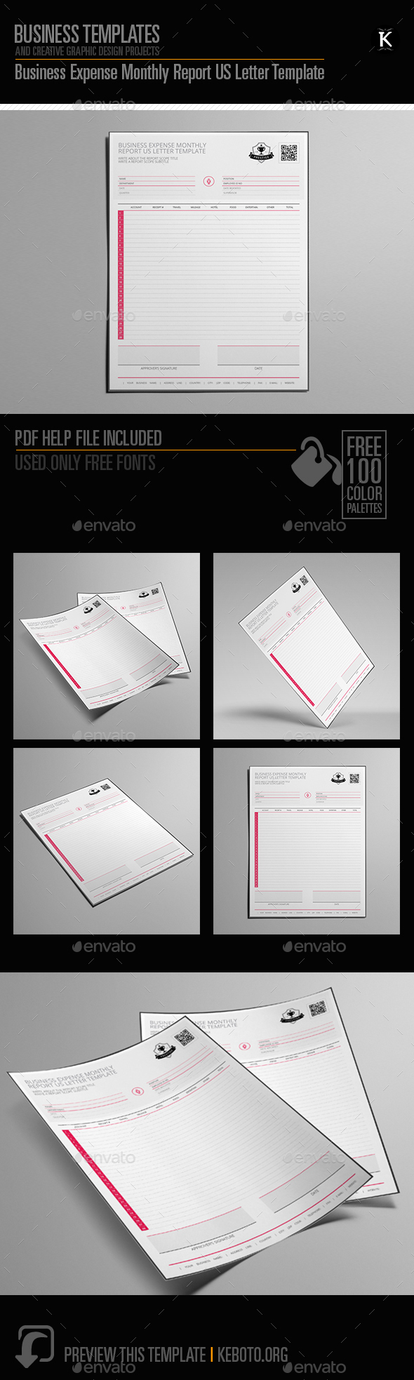 GraphicRiver Business Expense Monthly Report US Letter Template 20651395