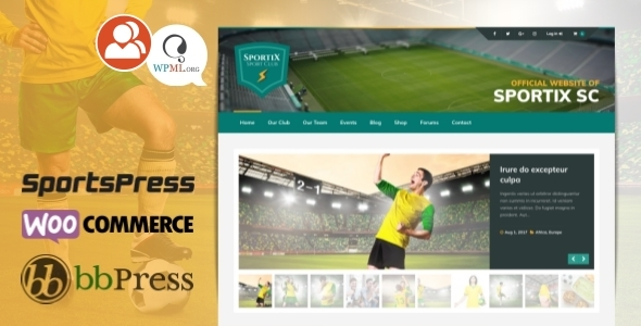 SPORTIX - WordPress SportsPress Theme for Sport Clubs - Nonprofit WordPress