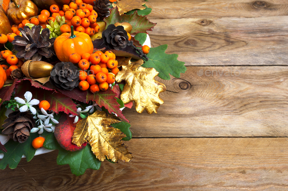 Thanksgiving garland with squash and berries copy space - Stock Photo - Images