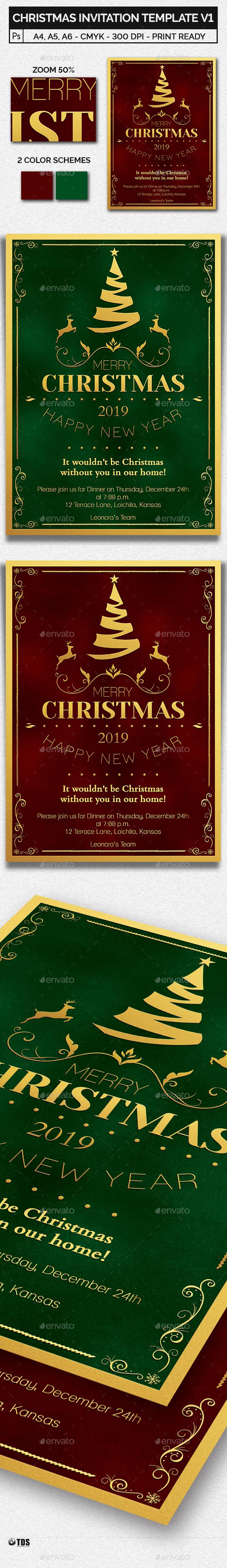 Christmas Invitation Template V1 - Invitations Cards & Invites