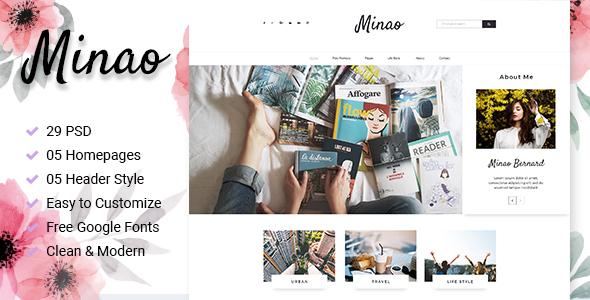 Minao - Blog PSD Template - Personal PSD Templates