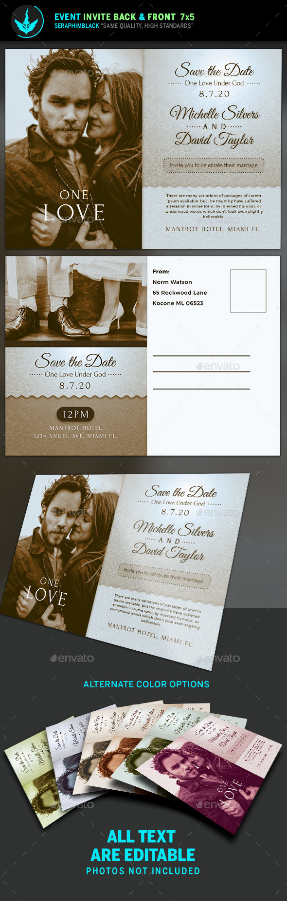 Retro Wedding Invite Template - Invitations Cards & Invites