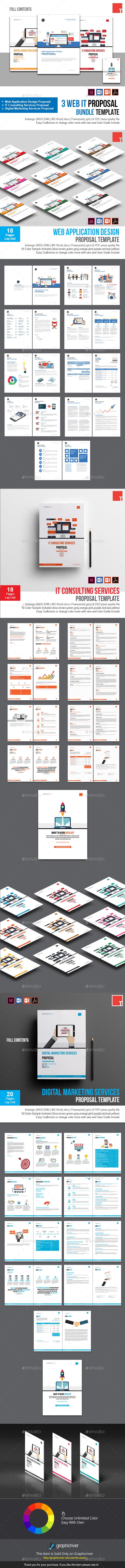 3 Web IT Proposal Bundle Template - Proposals & Invoices Stationery