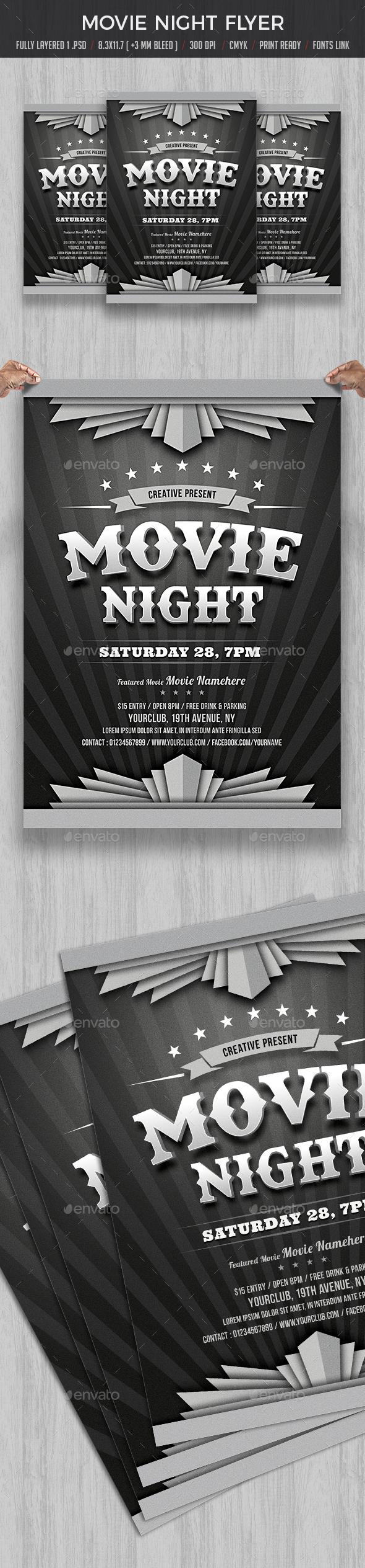 GraphicRiver Movie Night Flyer 20652493
