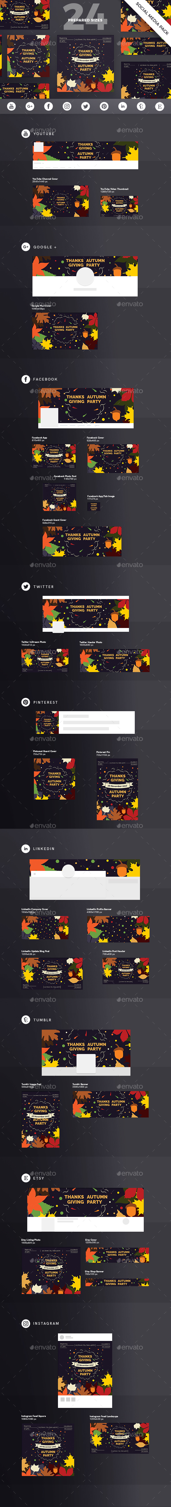 GraphicRiver Thanksgiving Party Social Media Pack 20652682
