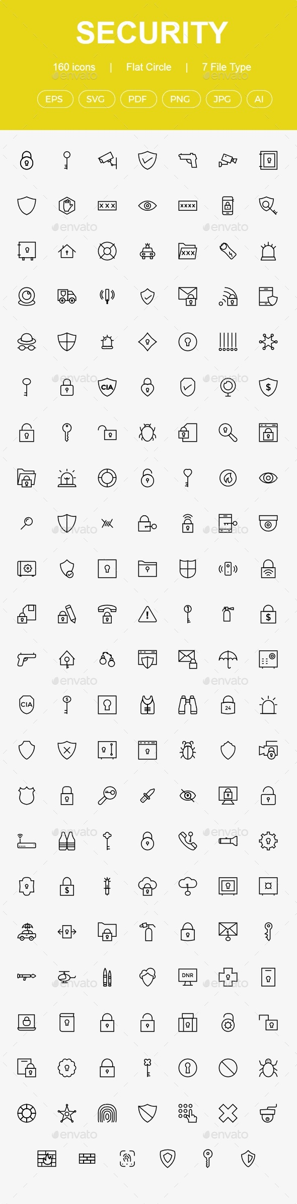 160 Security Line Icons - Business Icons