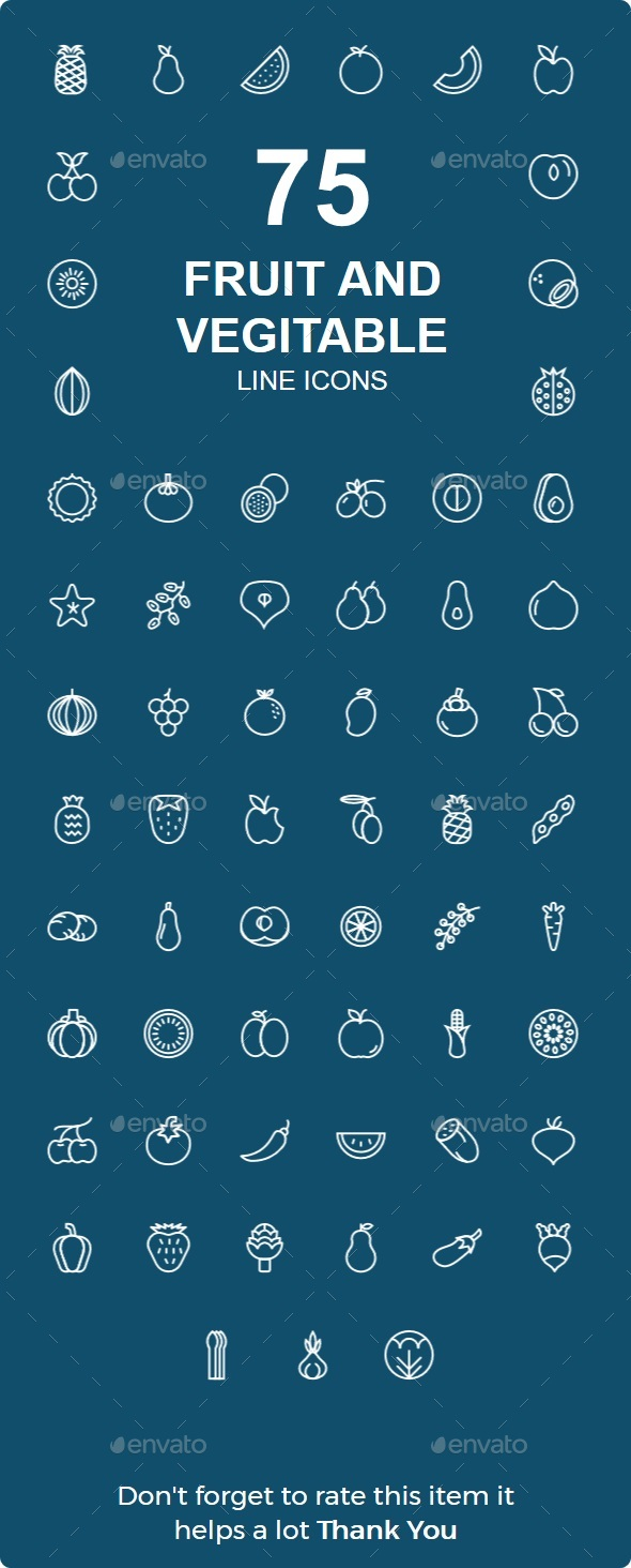 50+ Fruit & Veritable Line Icons - Web Icons