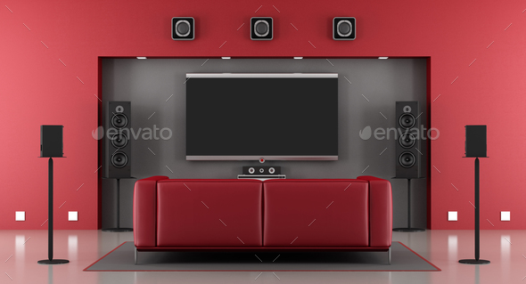 Red and gray home cinema - Stock Photo - Images