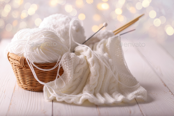 yarn and knitting needles - Stock Photo - Images