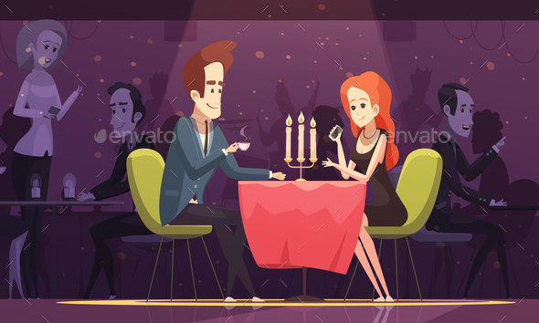 Young Couple Drinking Coffee In Restaurant - Patterns Decorative