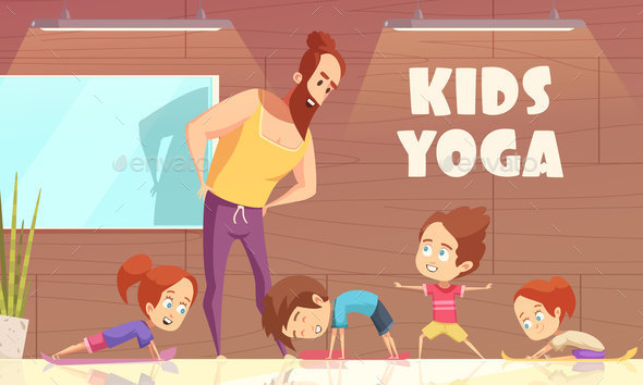 Kids Yoga Training Vector Illustration - People Characters