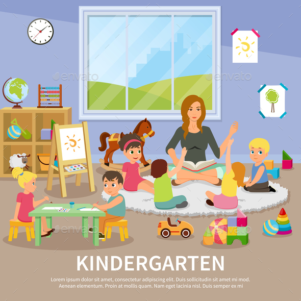 GraphicRiver Kindergarten Flat Composition 20653082