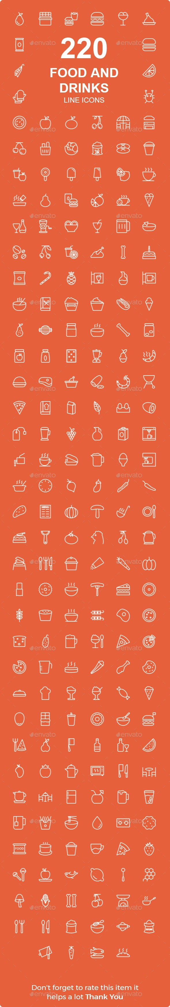 GraphicRiver 220 Food and Drinks line icons 20653085