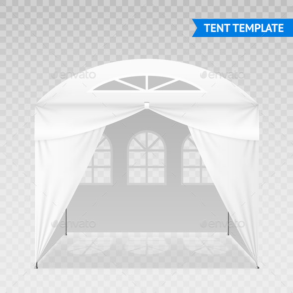 Realistic Tent Template On Transparent Background - Backgrounds Decorative