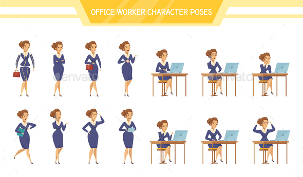 Office Worker Female ale  Poses Set - People Characters
