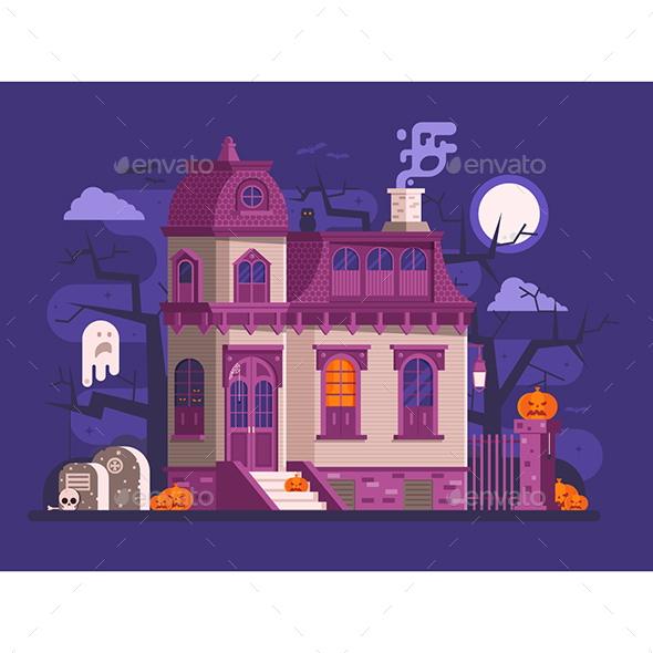 GraphicRiver Halloween Haunted House Scene 20653139