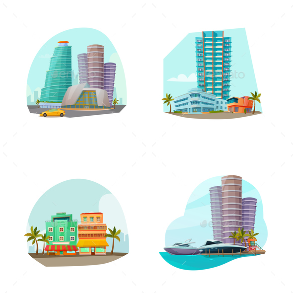 Miami Cityscape 4 Icons Composition - Buildings Objects