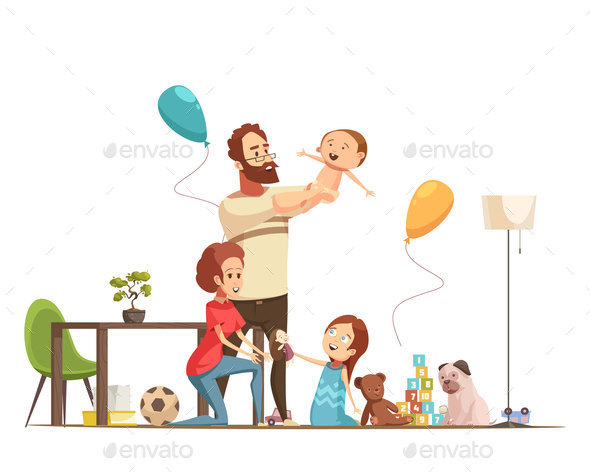 Family Home Retro Cartoon Poster - People Characters