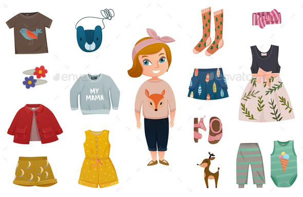 Baby Girl Fashion Icon Set - People Characters