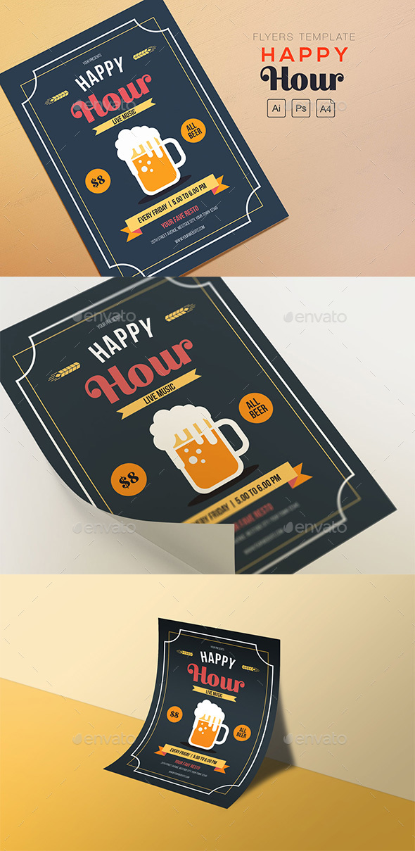 GraphicRiver Happy Hour Beer Flyers 20653178
