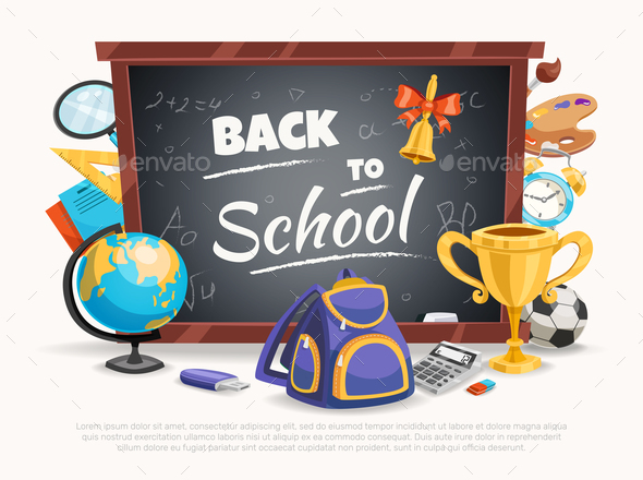Back To School Composition Poster - Miscellaneous Vectors