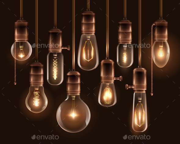 Vintage Glowing Light Bulbs Icon Set - Miscellaneous Vectors