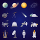 Space Exploration Flat Icons Set