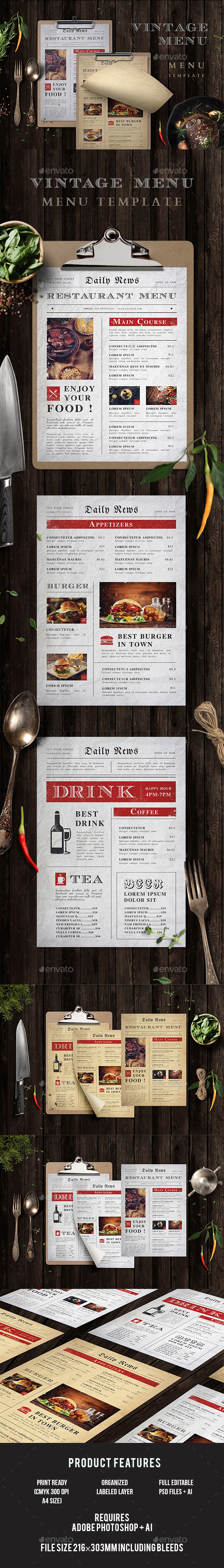 Vintage Menu - Food Menus Print Templates