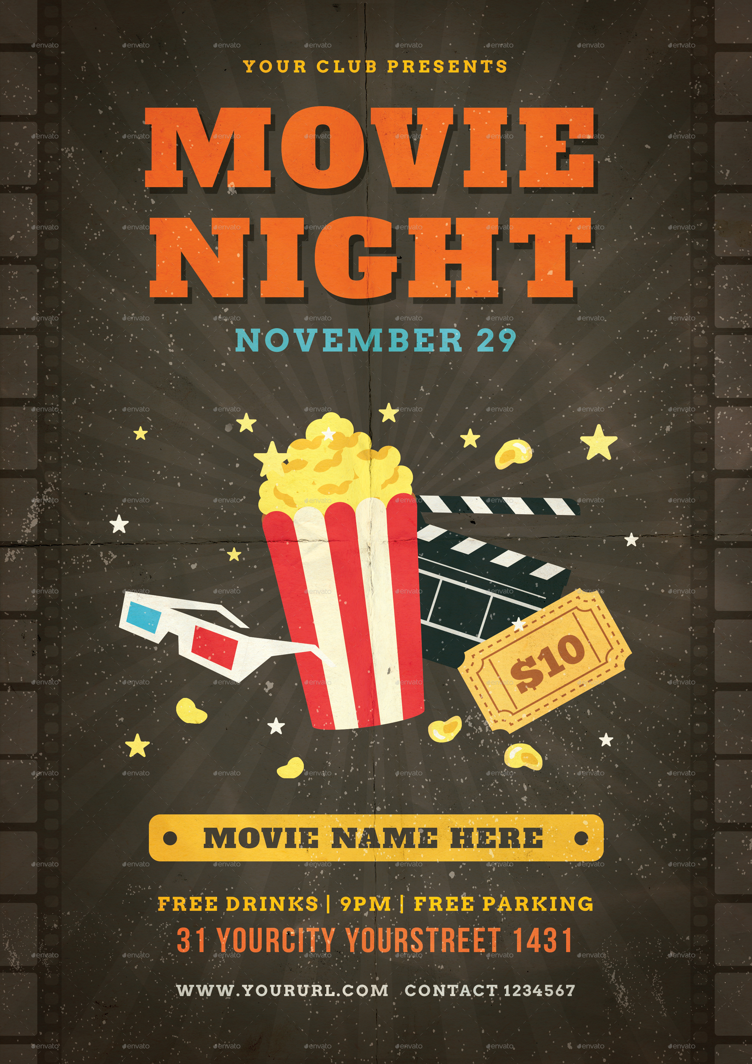 movie night flyer by infinite78910 graphicriver. Black Bedroom Furniture Sets. Home Design Ideas
