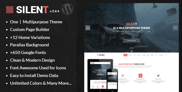 Silent - One Page Multipurpose WordPress Theme - Experimental Creative