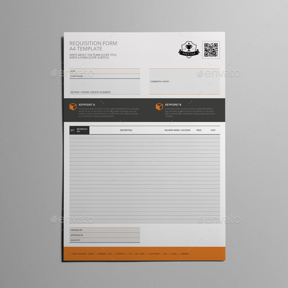 Requisition Form A4 Template by Keboto | GraphicRiver