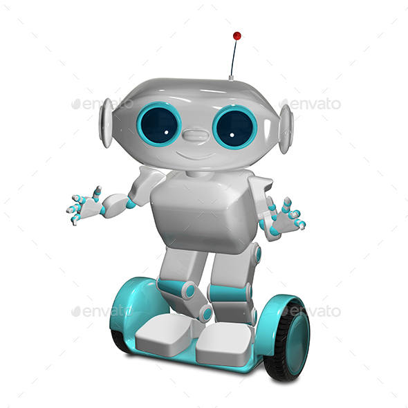 3D Illustration White Robot on Scooter - Characters 3D Renders