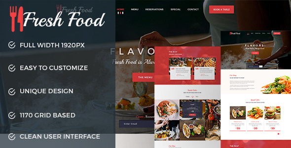 Fresh Food --- Restaurant PSD Template - Food Retail