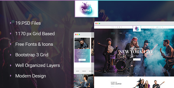 The Crowd - Rock Band Page PSD Template