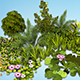 Flowers, grass, shrub. 25 low poly models