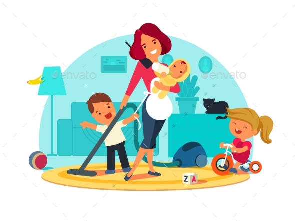 GraphicRiver Busy Mother Feeds Child 20654211