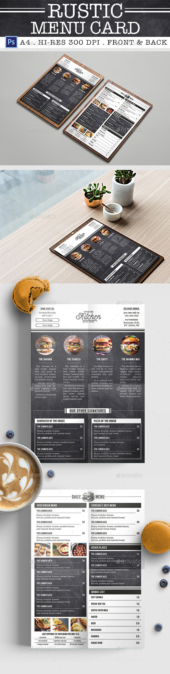 Rustic Burger Menu Card - Food Menus Print Templates