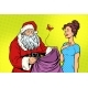 Joyful Santa Claus Without Gifts and Woman