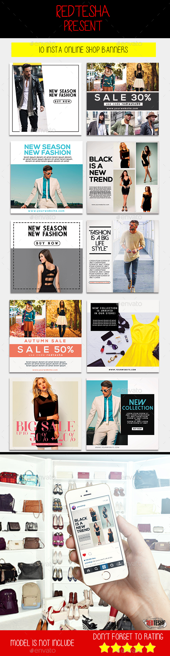 Instagram Fashion Banner #10 - Banners & Ads Web Elements