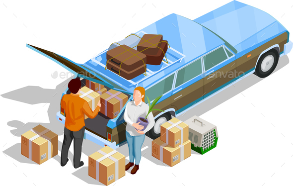 Moving People Isometric Illustration - Travel Conceptual