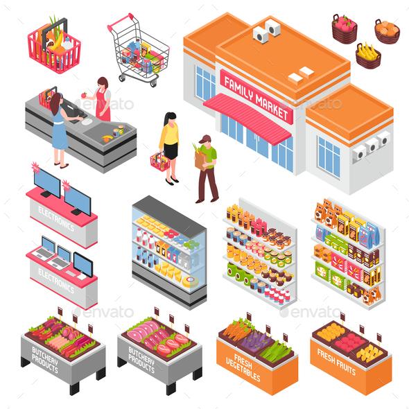 Supermarket Isometric Set - Food Objects