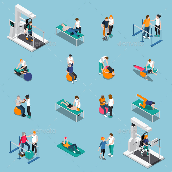 Physiotherapy Rehabilitation Isometric People Icon Set - Health/Medicine Conceptual