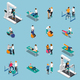 Physiotherapy Rehabilitation Isometric People Icon Set